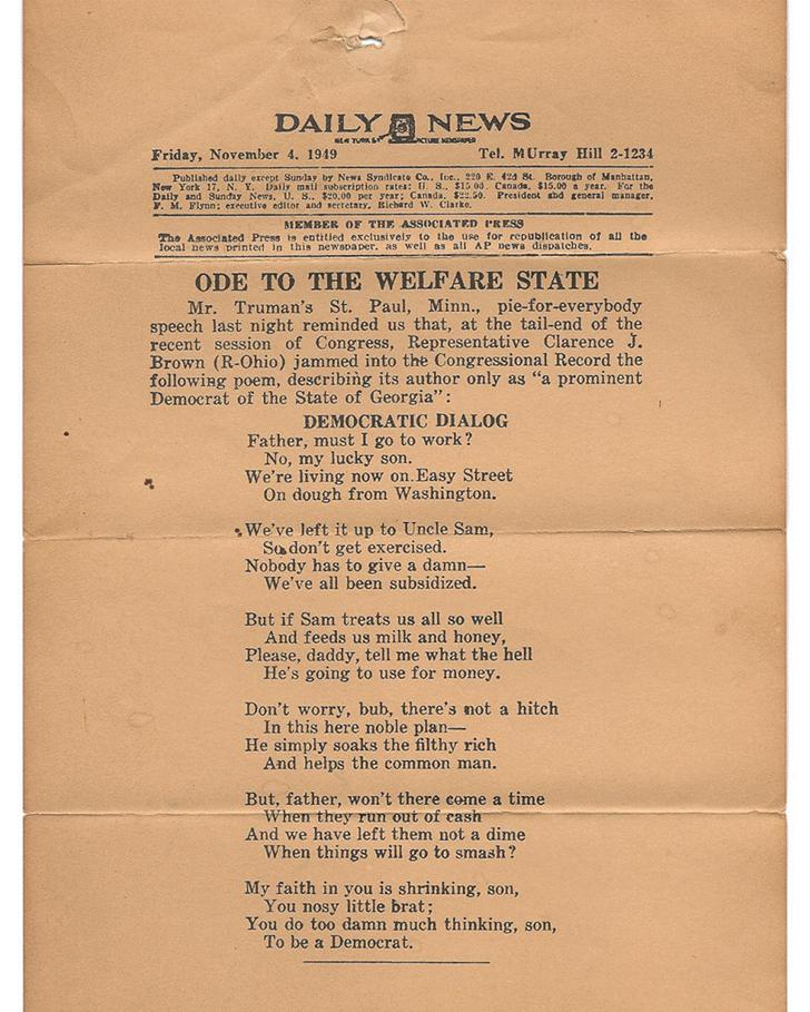 Ode To The Welfare State, 1949
