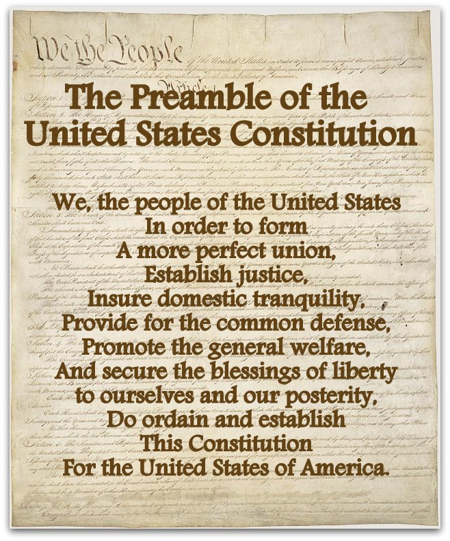 a preamble to the constitution of the united states and american governemnt