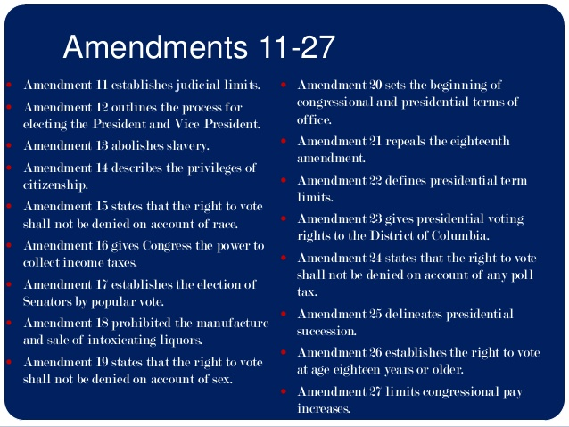 U.S. Constitution: Amendments 11-27