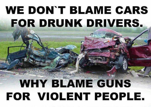 Drunk drivers kill more than shooters. Where's the cry for bringing back Prohibition and banning autos?