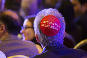 LAS VEGAS, NV - April 6, 2019: Trump Supporters pictured as President Donald J. Trump pictured addresses The Republican Jewish Coalition Annual Leadership Meeting at The Venetian Resort in Las Vegas, NV on April 6, 2019. Credit: Erik Kabik Photography/ MediaPunch /IPX
