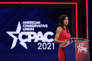 ORLANDO, FLORIDA - FEBRUARY 27: South Dakota Gov. Kristi Noem addresses the Conservative Political Action Conference held in the Hyatt Regency on February 27, 2021 in Orlando, Florida. Begun in 1974, CPAC brings together conservative organizations, activists, and world leaders to discuss issues important to them. (Photo by Joe Raedle/Getty Images)