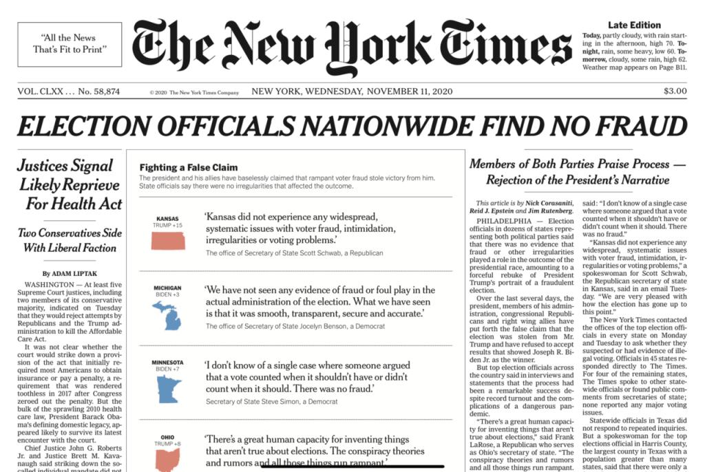 NY TImes, no fraud